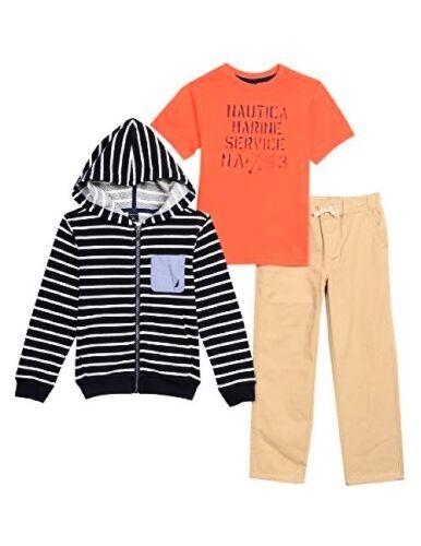 Pick SZ//Color. Nautica Childrens Apparel Little Boys Fleece Stripe Hoodie