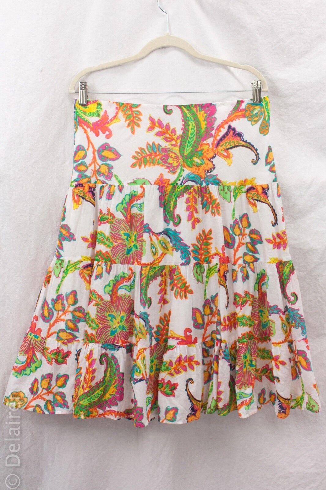Lauren Ralph Lauren Ruffle Tiered Paisley Print colorful Swishy Cotton Skirt M