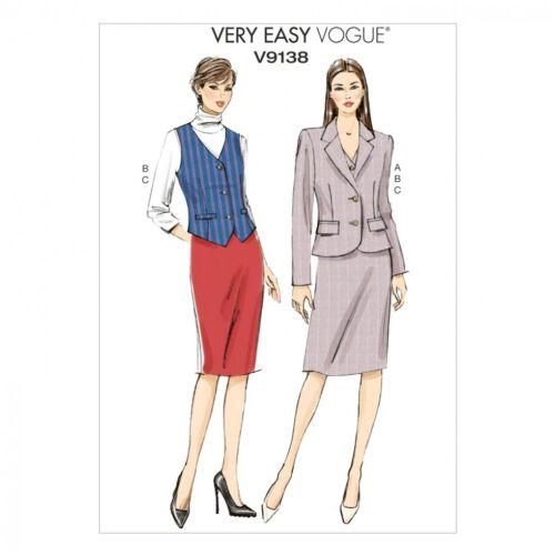 patrón de costura de moda para señoras fácil 9138 Chaqueta Chaleco.. Gratis Reino Unido P/&p