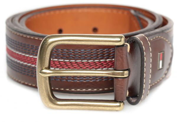 0f3696c730cd0 Tommy Hilfiger Mens Leather Contrast Stitch Stripe Inlay Belt 34 Tan for  sale online
