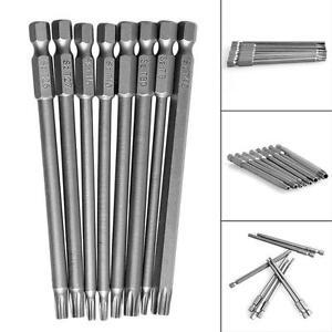 8-pieces-T8-T40-100mm-0-6cm-Hexagonale-Tete-Torx-Embout-De-Tournevis-Magnetique