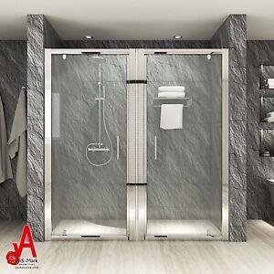 1540 2020mm large bathroom pivot shower screen enclosure double