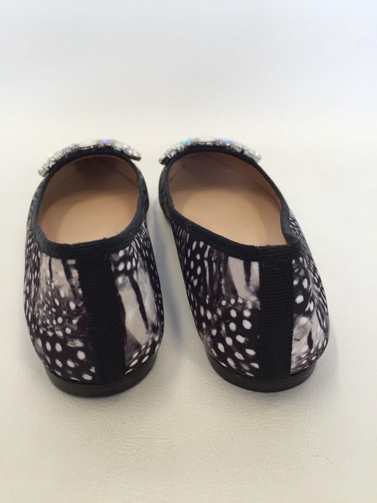 NEW JCrew Collection Gemma Jeweled feather print flats black black black Sz 5 E4659  238 61b7ce