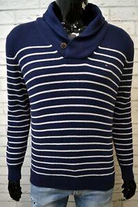 Maglione-Blu-Uomo-TOMMY-HILFIGER-Taglia-M-Pullover-in-Cotone-Cardigan-Sweater