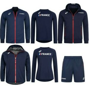 Details about Asics athletics France sport jacket shorts sweat blue sûrvetement nine- show original title