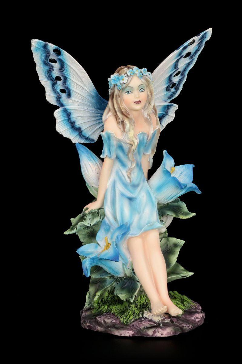 Figura Elfos - Blaubell con Flores - Blau Hadas Fantasía Figura de Decoración
