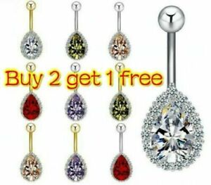 Details About Uk Silver Gold Belly Button Piercing Bar Crystal Cluster Belly Bars Navel Rings