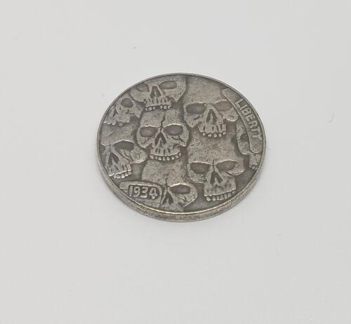 1934 Buffalo Nickel Hobo Nickel Coin skulls and skeleton buffalo rare