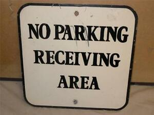 No-Parking-Receiving-Area-Construction-Steel-Metal-Wall-Sign-12in-x-12in-VGC