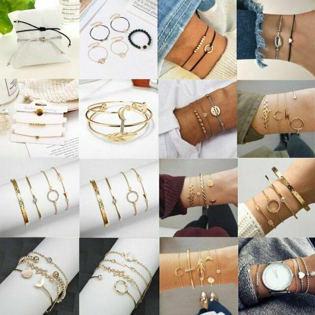 4/5pcs/set Women Love Heart Sea Turtle Weave Rope Bead Bracelet Jewelry Gift