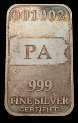 PA Full Troy oz .999 Silver State Silver Bar U.S Pennsylvania