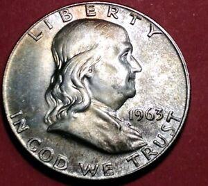 Brilliant Uncirculated 1963 Ben Franklin Silver Half Dollar