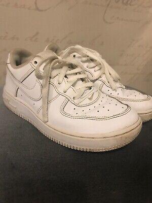 NIKE AIR FORCE 1 LOW BG Big Kids Junior All White Leather Trainers UK 1 EU 33 eBay  eBay