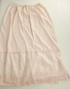Vintage 60s Vanity Fair Pink Nylon Lace Swiss Dot Embroidered Half Slip S