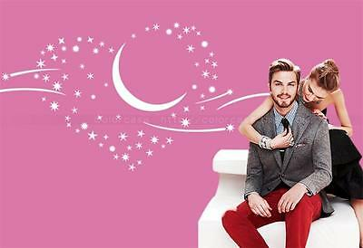 Large Moon Star Romantic Bedroom Vinyl Wall Art Decal Paper Mural Sticker Decor