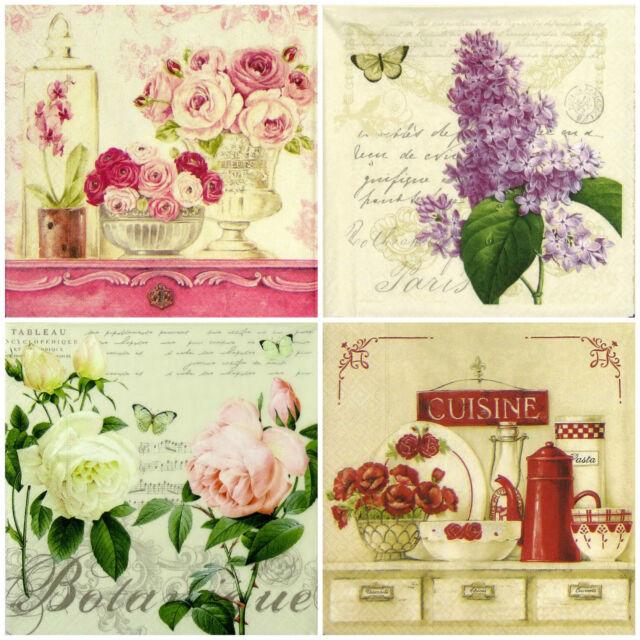 4x Paper Napkins for Decoupage Decopatch - Vintage Nice Flowers Mix
