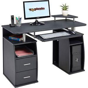 Großer Computer Schreibtisch Mit 2 Schubladen Und 4 Regalfächern