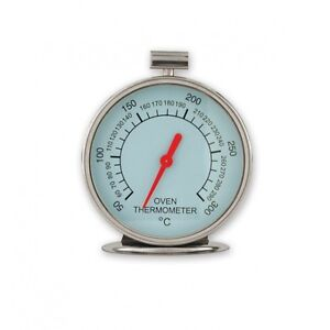 OVEN-THERMOMETER-DIAL-FACE-BRAND-NEW-STAINLESS-STEEL-GLASS-FRONTED-9cm-TALL