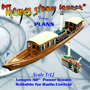 Details about Full size printed plan for Thames Steam Launch & Steam Engine