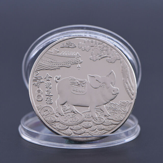 2019 Pig Souvenir Coin Chinese Zodiac Commemorative Coin Lucky Gifts Silver PLV