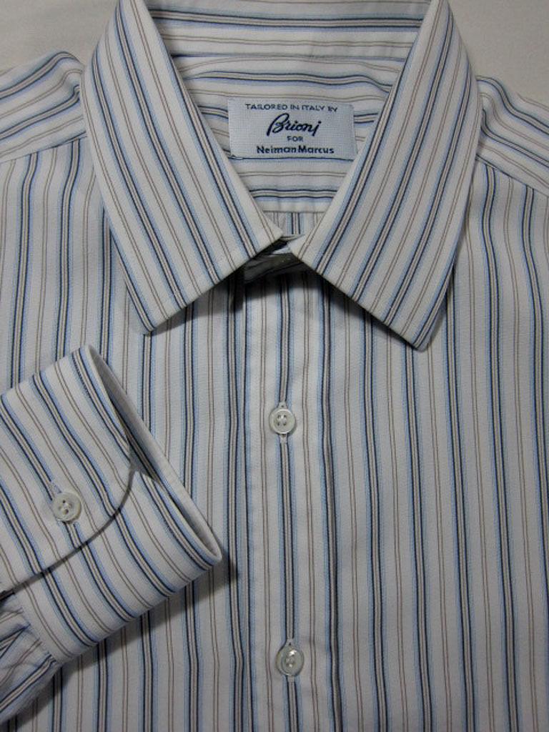 MINT 595 Brioni for Neiman Marcus Blau and Gold Stripe Dress Shirt 15x33
