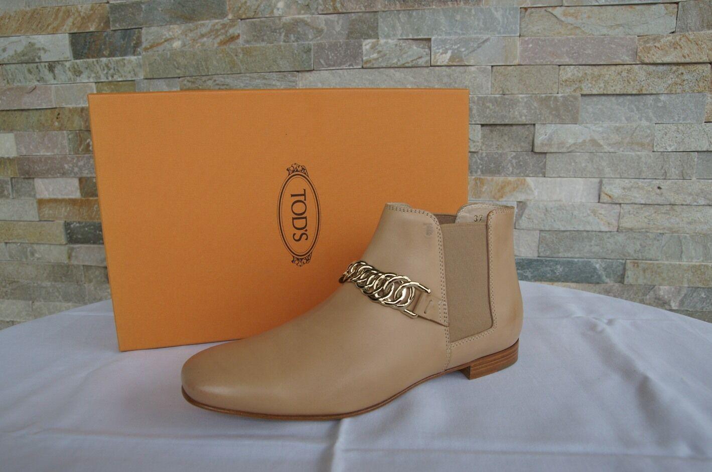 TODS Stivali TOD'S TAGLIA 37 Stivaletti Stivali TODS Chelsea Scarpe Shoes Nude Carne Nuovo UVP b48129