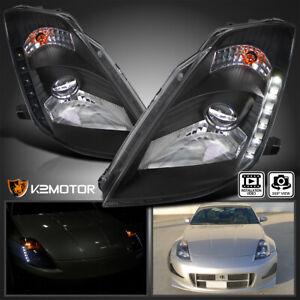 Fits 2003-2005 Nissan 350Z Z33 LED Strip HID Type Projector Headlights Black