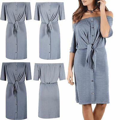 9ed36d2970 Details about Womens Ladies Off Shoulder Short Sleeve Buttons Tie Knot Belt  Denim Shirt Dress