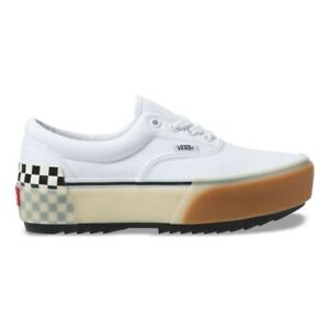 Details about New Vans Era Stacked White/Checkerboard Gum Sole Platform  Sneakers Shoes 2019