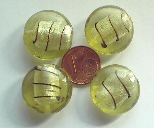 4 perles galets VERRE façon Murano 20mm KAKI PALE stries NOIR feuille argentée