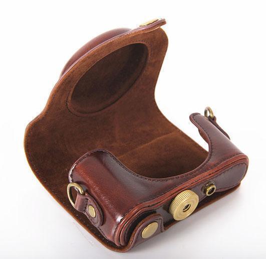 New Leather Camera Case Bag For Sony DSC-HX90 HX90 WX500 Dark Brown