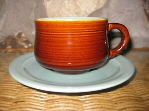 Lot-of-Four-Cups-amp-Saucers-Red-Wing-Village-Green-Stoneware-China-Dinnerware