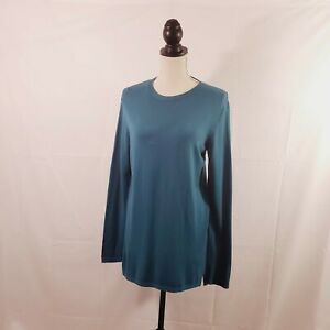 J-Jill-Top-Blue-Long-Sleeve-Crew-Neck-Pullover-Tunic-Top-Womens-Size-Small