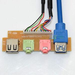 PC-Computer-Case-Front-Panel-USB-Audio-Port-Mic-Earphone-Cable-USB-2-0-3-0-Ports