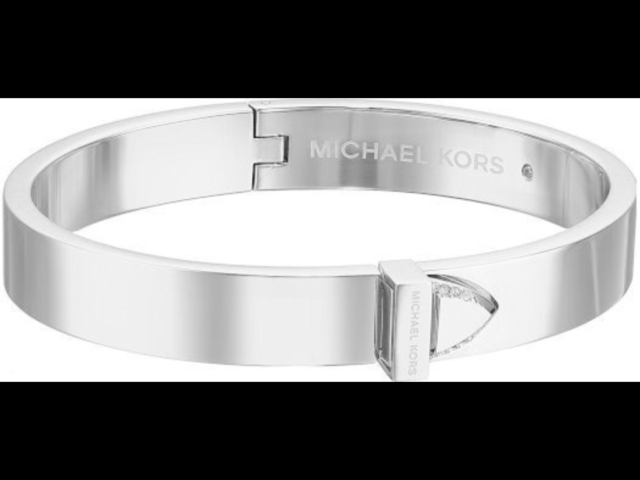 Michael Kors Women S Mk Knife Edge Silver Tone Belt Bangle Bracelet Mkj6398040