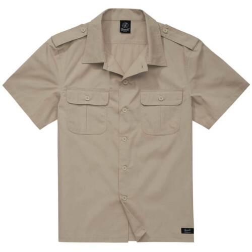 Brandit US Rip-Stop Short Sleeve Shirt Bush Field Hiking Summer Uniform Khaki