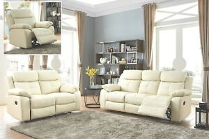 Details about Cream Real Leather 3 Seater or 2 Seat Armchair Recliner Sofa Suite CHICAGO 32