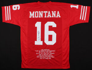 online retailer 14361 0fc94 Details about Joe Montana Signed 49ers Career Highlight Stat Jersey JSA  /4xSuper Bowl Champion