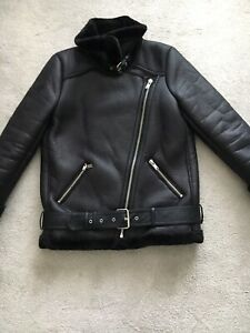 de de imitation Veste Zara mouton noir peau fourrure col synthétique en montant motard 2WYDIE9H