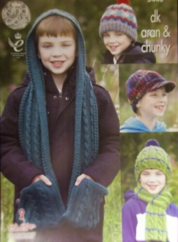 King cole aran dk chunky chapeaux foulards childs knitting pattern 3448