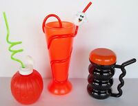 3 Vtg. Halloween Drinking Cups Glasses 90's Fun Plastic Krazy Straw Children