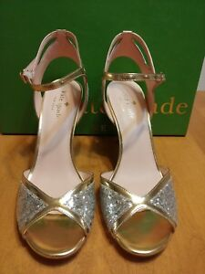 8b2b9ae0cb6 Image is loading Kate-Spade-Metallic-Gold-Silver-Glitter-Heel-Strappy-