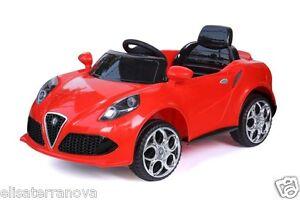 MACCHINA-ELETTRICA-PER-BAMBINI-tipo-Alfa-Romeo-4C-12V-ROSSA-AUTO-TELECOMANDO-MP