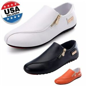 US-Men-039-s-Casual-Shoes-Flats-Leather-Slip-Resistant-Loafers-Driving-Moccasins-US