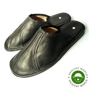 Luxury-Men-039-s-Slippers-REAL-LEATHER-CALFSKIN-Black