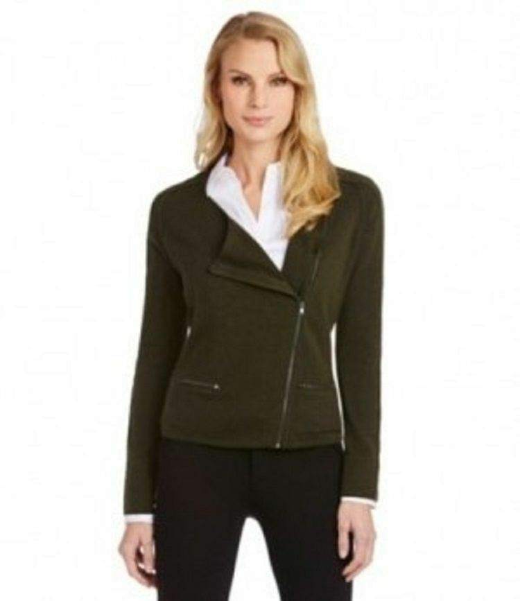 NWT Antonio Melani 100% Cashmere Military Zip Cardigan Sweater Size L MSRP