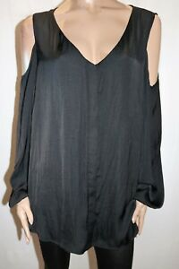 AUTOGRAPH-Brand-Black-Cold-Shoulder-Long-Sleeve-Shirt-Top-Size-22-BNWT-SN44