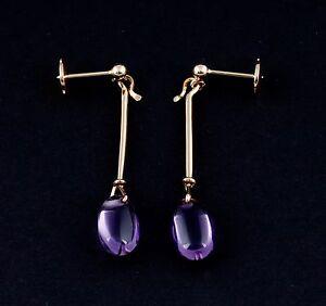 ef01cf769 Georg Jensen 18 Carat Gold Dew Drop # 1146 Earrings w. Amethyst ...