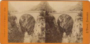Pont Napoleone San Sauver Francia Foto Viron Stereo Vintage Albumina Ca 1870