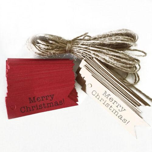 100pcs Fishtail décoratif joyeux Noël papier cadeau étiquettes suspendus cartes